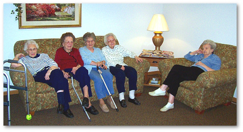 Residents visiting at Valley View Assisted Living